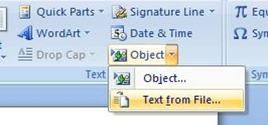 Insert Text from File in Office 2007
